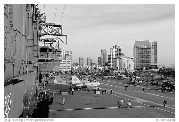 Flight control tower, flight deck, skyline, San Diego Aircraft  carrier museum. San Diego, California, USA (black and white)