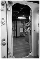 Bridge seen from a door, USS Midway aircraft carrier. San Diego, California, USA (black and white)