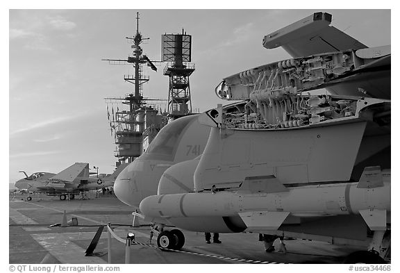 Aircaft with wings folded to save space, USS Midway aircraft carrier. San Diego, California, USA