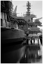 USS Midway aircraft carrier, sunset. San Diego, California, USA (black and white)