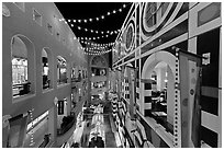 Horton Plaza shopping center, designed by Jon Jerde. San Diego, California, USA (black and white)