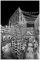 Triangular facade of the Palazzo, Horton Plaza. San Diego, California, USA ( black and white)