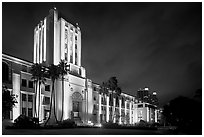County Administration Center in Art Deco style at night. San Diego, California, USA ( black and white)