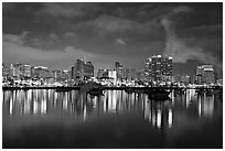 San Diego skyline from Harbor Drive, nite. San Diego, California, USA (black and white)