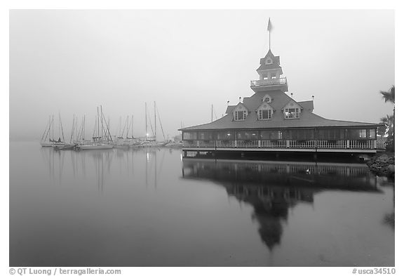 Boathouse and harbor in fog, sunrise, Coronado. San Diego, California, USA (black and white)