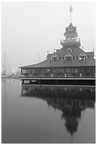 Boathouse restaurant in fog at sunrise, Coronado. San Diego, California, USA (black and white)