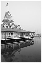 Historic Coronado Boathouse. San Diego, California, USA ( black and white)