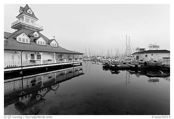Period and modern boathouses, early morning, Coronado. San Diego, California, USA