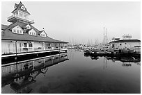 Period and modern boathouses, early morning, Coronado. San Diego, California, USA (black and white)