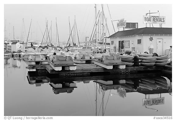 Boathouse and boats for rent, Coronado. San Diego, California, USA (black and white)