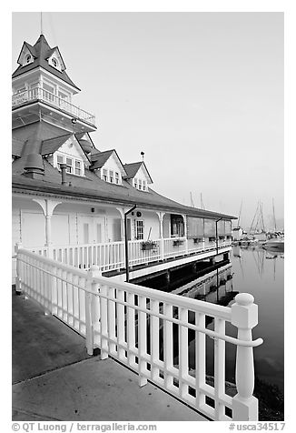 Fence and boathouse, Coronado. San Diego, California, USA