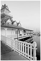 Fence and boathouse, Coronado. San Diego, California, USA (black and white)