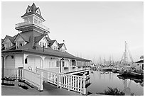 Boathouse and yachts, Coronado. San Diego, California, USA (black and white)