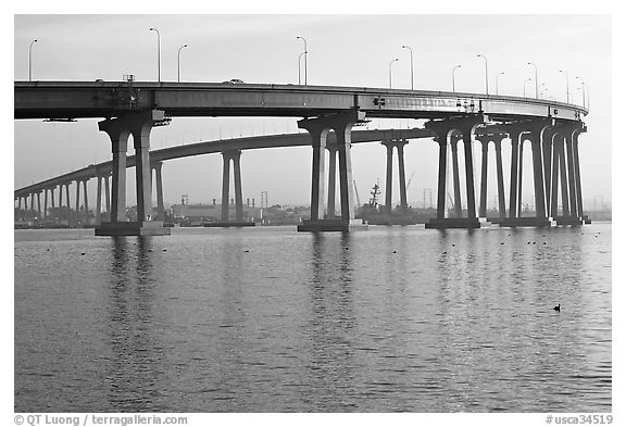 Span of the Bay Bridge, Coronado. San Diego, California, USA (black and white)