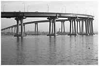 Span of the Bay Bridge, Coronado. San Diego, California, USA ( black and white)
