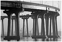 Pilars of the Bay Bridge, Coronado. San Diego, California, USA (black and white)