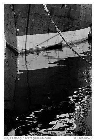 Hull and reflection, Star of India, Maritime Museum. San Diego, California, USA (black and white)