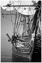 HMS Surprise, a replica of a 18th century Royal Navy frigate, Maritime Museum. San Diego, California, USA (black and white)