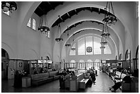 Vaulted ceiling,  waiting room of Santa Fe Depot. San Diego, California, USA (black and white)