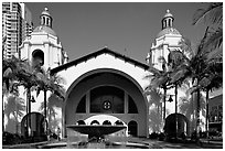 Santa Fe Depot railroad station, constructed for the 1915 Panama-California exhibition. San Diego, California, USA ( black and white)