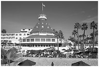 Swimming pool of hotel Del Coronado. San Diego, California, USA (black and white)