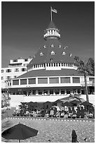 Swimming pool and tower,  Del Coronado hotel. San Diego, California, USA (black and white)