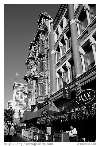 Gaslamp quarter street with historic buildings. San Diego, California, USA (black and white)