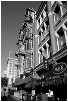Gaslamp quarter street with historic buildings. San Diego, California, USA ( black and white)