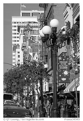 Gaslamp and street in the Gaslamp quarter. San Diego, California, USA