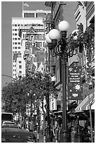 Gaslamp and street in the Gaslamp quarter. San Diego, California, USA (black and white)