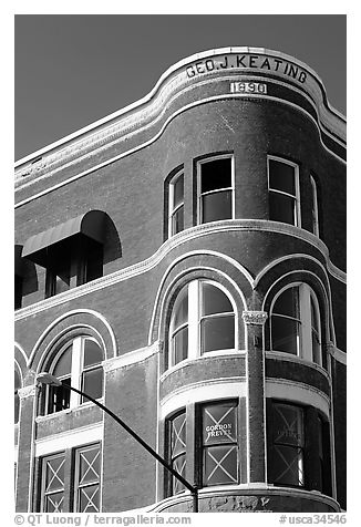 Keating building, Gaslamp quarter. San Diego, California, USA (black and white)