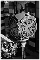 Jessops clock, called the finest street clock in the US. San Diego, California, USA ( black and white)