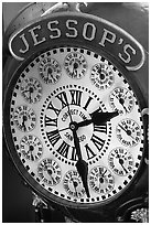 Detail of Jessops clock. San Diego, California, USA ( black and white)