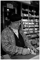 Clerk in Tobacco shop, Old Town. San Diego, California, USA ( black and white)