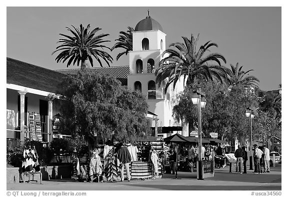 Street, Old Town State Historic Park. San Diego, California, USA (black and white)