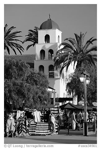 Store and church, Old Town State Historic Park. San Diego, California, USA (black and white)