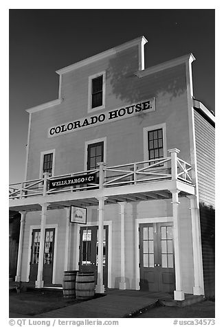 Colorado House at night, Old Town State Historic Park. San Diego, California, USA (black and white)