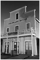 Colorado House at night, Old Town State Historic Park. San Diego, California, USA ( black and white)