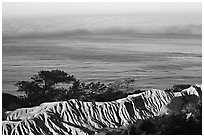 Eroded bluffs, ocean and fog, sunrise, Torrey Pines State Preserve. La Jolla, San Diego, California, USA (black and white)