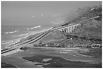 Coastal highway, early morning. La Jolla, San Diego, California, USA ( black and white)