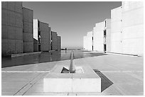 Salk Institute, designed by Louis Kahn. La Jolla, San Diego, California, USA (black and white)