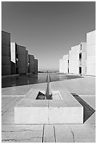 Salk Institute for biological studies designed by Louis Kahn, morning. La Jolla, San Diego, California, USA (black and white)