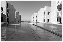 Salk Institude, called architecture of silence and light by architect Louis Kahn. La Jolla, San Diego, California, USA (black and white)