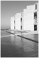 Cubist Laboratory blocks reflected in courtyard marble, Salk Institute. La Jolla, San Diego, California, USA ( black and white)