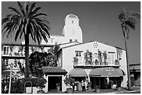La Valencia Hotel, designed by William Templeton Johnson. La Jolla, San Diego, California, USA ( black and white)