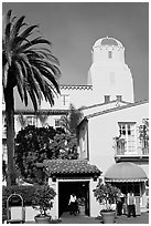 La Valencia Hotel, in spanish colonial style. La Jolla, San Diego, California, USA (black and white)
