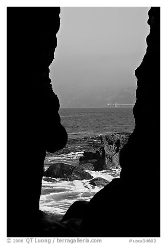 View through a seacave at the Cove. La Jolla, San Diego, California, USA (black and white)