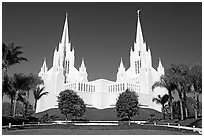 Mormon temple. San Diego, California, USA ( black and white)