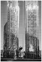 Bell tower reflected in Crystal Cathedral Facade. Garden Grove, Orange County, California, USA (black and white)