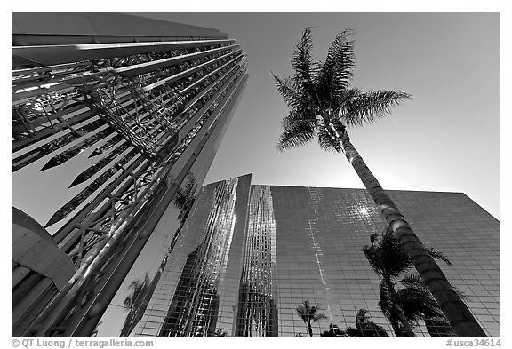 Bell tower and sun shining through the Crystal Cathedral Facade,. Garden Grove, Orange County, California, USA (black and white)